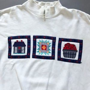 90s Farmhouse Apples Quilt zip Sweatshirt